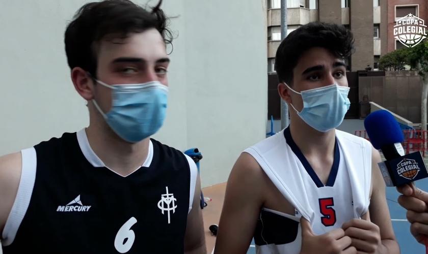 Nicolás Gómez y Pablo Gútiez, el postpartido Compañía de María - Rosa Molas con sus MVPs
